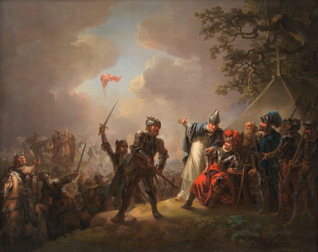 Illustration af Dannebrog falder ned fra himmelen under slaget ved Lyndanisse, Tallin, Estland.